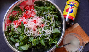 Salade de cresson au bœuf tiède