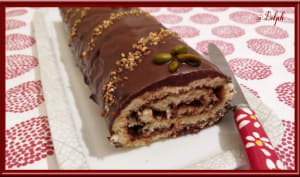Bûche croquante Chocolat Praliné Pistache
