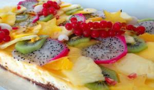 Tarte façon cheesecake au citron vert et aux fruits exotiques