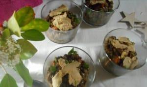 Salade de lentilles et grenade aux copeaux de foie gras