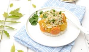 Curry de légumes d'hiver, crumble croustillant de riz aux noix de cajou