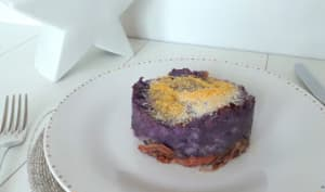 Hachis parmentier de confit de canard au foie gras et pommes de terre violettes Bleues d'Artois