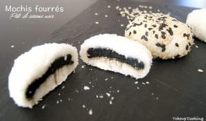 Mochis fourrés à la pâte de sésame noir