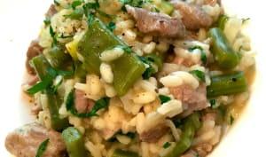 risotto d'agneau et petits légumes