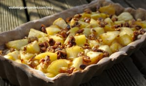 Tarte aux pommes et ses pignons caramélisés