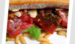 Sandwich Carpaccio Bœuf, Roquette et Pistou