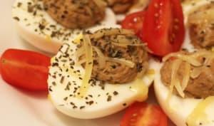 Oeufs durs farcis aux sardines et tomates