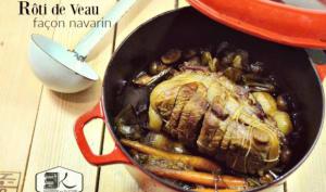 Rôti veau façon navarin et légumes au cidre