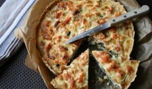Tarte saumon, poireaux, épinards