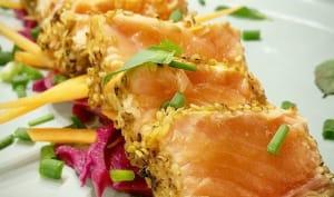Tataki de saumon et chou rouge en pickles