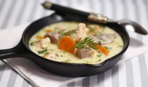 Blanquette de thon et saumon mi cuits à l'aneth