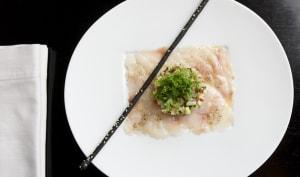 Carpaccio de bar façon sashimi