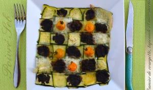 Damier de courgette, tapenade et mozzarella