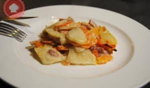 Gratin de carottes, pommes de terre et lardons