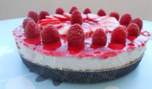 Cheesecake cru aux fraises, framboise et noix de coco