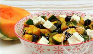 Courgette aux épices, feta et olives noires
