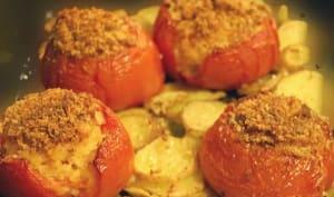 Tomates farcies à la purée, au jambon, Vache Qui Rit et fines herbes
