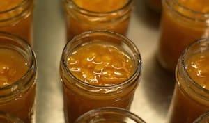 Confiture de melon, pêche au miel, à la vanille et cannelle