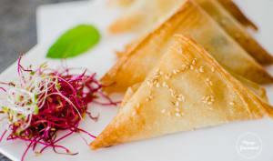 Samoussas aux sardines, fromage frais et menthe