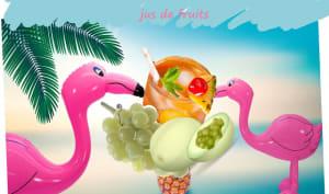 Cocktail de fruits à l'ananas, au melon et raisins blancs