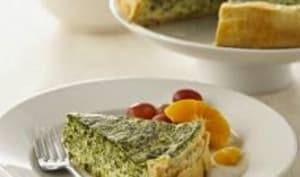 Quiche aux épinards, oignons verts et fromage