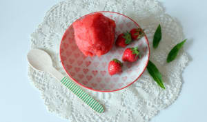 Sorbet fraise-verveine au sirop de coco