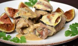 Involtini de veau aux figues et jambon de Parme, sauce au cambozola et Porto rouge