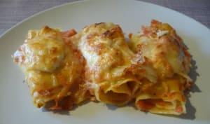 Lasagnes roulées au chorizo, chèvre et tomate