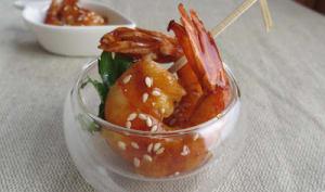Gambas laquées à la sauce Yakitori