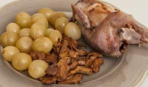Cailles aux pieds de mouton et aux raisins frais