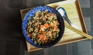 Riz sauté au kale et au tofu