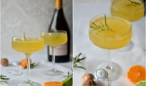 Cocktail au prosecco, clémentines et romarin