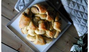 Brioche facile de croissants, à la pâte à tartiner duo aux noisettes
