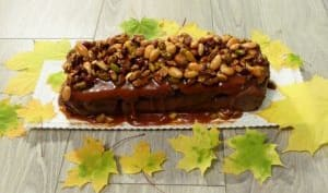 Brownie au chocolat, fruits secs et caramel