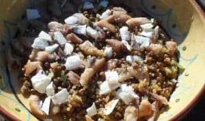 Salade chaud-froid de lentilles et quinoa au haddock