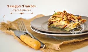 Lasagne fraîche aux cèpes, girolles et noix