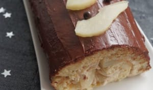 Chestnut mousse, pear and chocolate log