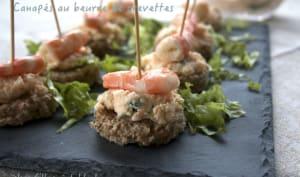 Canapés au beurre de crevettes