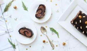 Bûche chocolat et noisettes caramélisées