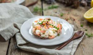 Tartare au saumon noix de Saint-Jacques et aneth