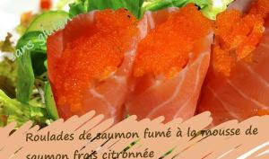 Roulades de saumon fumé à la mousse de saumon frais, citronnée