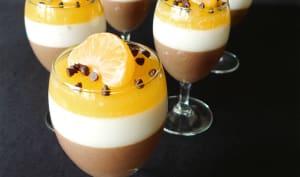 Panna cotta chocolat, épices et orange
