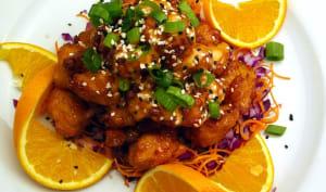 Crevettes au miel et jus d'orange