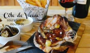 Côte de veau à la plancha et sauce safran, moutarde