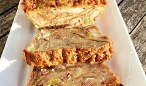 Pudding de pain aux lardons, poireau et chèvre