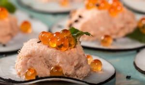 Bouchées de radis noir aux rillettes de saumon