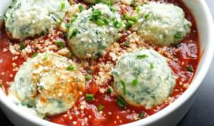 Gnudi à la ricotta et aux épinards, sauce tomate express