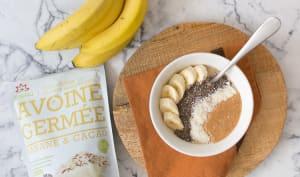 Porridge à l'avoine germé banane et chocolat