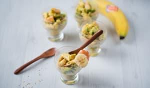 Verrines banane-avocat-crevettes