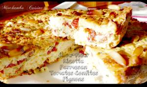 Gâteau au chou-fleur, ricotta, parmesan et tomates confites
